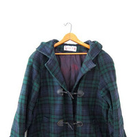 vintage wool coat. winter duffel coat. toggle coat. hooded coat. plaid winter coat. tartan coat.