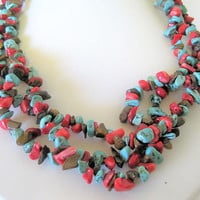 Turquoise Coral Chip Necklace  - 3 Strands Choker -  Vintage Boho Hippie Jewelry