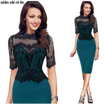 2017 New Brand large sizes 6xl Dress Summer autumn Women High Quality lace Embroidery bodycon bandage fashionable office Dresses