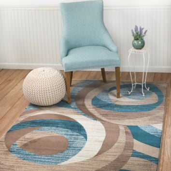 2037 Blue Abstract Contemporary Area Rugs