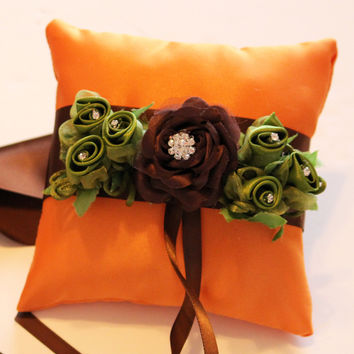 Orange and Green Ring Pillow for Dogs, Wedding Dog Accessory, Ring Bearer