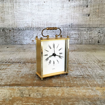 Clock Vintage Quartz Clock Brass Roman Numeral Gold Mantle Clock Vintage Desk Clock Small Clock Mid Century Clock Retro Clock