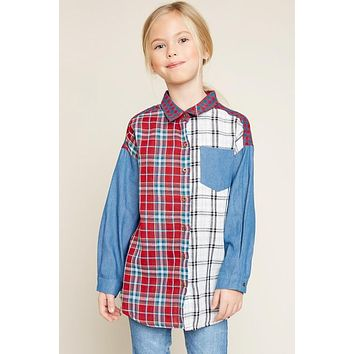 Back To School & Mommy & Me Girls Hayden Long Sleeve Button Mixed Plaid Kids Top C