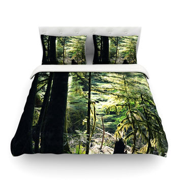 """Robin Dickinson """"Enchanted Forest"""" Green Featherweight Duvet Cover"""
