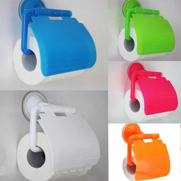 1PC Wall Mounted Plastic Bathroom Toilet Paper Holder With Cover Porta Papel Higienico Bathroom Accessories