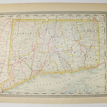Antique CT Map 1881 Rand McNally Map of Connecticut, Map Gift for Coworker, Unique Birthday Gift Under 30, Vintage Map Connecticut State Map