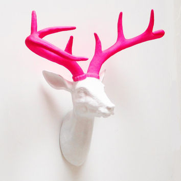 Neon Deer Head, Faux Deer Head, White Deer Head, Faux Taxidermy, Deer, Stag Head, Deer Head Australia, Faux Taxidermied, Hodi Home Decor