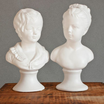 Vintage Napco Ware Victorian Style Decorative Busts, Boy and Girl White Bust Ceramic Heads, Neoclassical Style Decor