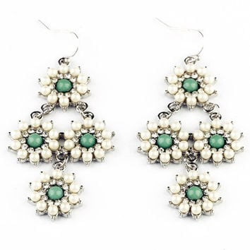 Pearl Daisies Drop Earrings