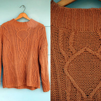 1980s. brown cable knit pull over sweater. s-l