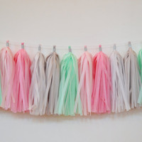 Tassel Garland - Baby Nursery Decoration - Nursery Tassel Garland - Baby Bunting - Pink Mint Gray Garland