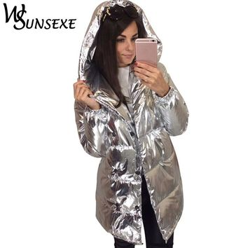 Shiny Silver Metal Hooded Jacket Women Winter Cotton Padded Long Sleeve Outerwear Fashion New Streetwear Female Warm Parkas Coat