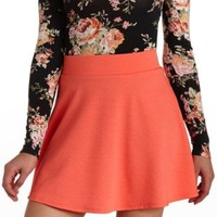 Dotted Jacquard High-Waisted Skater Skirt by Charlotte Russe - Coral