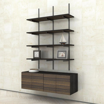 Wall Mounted Shelves with 2-Door Cabinets