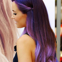 "Ombre Hair Extensions, Festival Hair, Purple Rain Ombre, Purple Hair, Bohemian Hair,(7) Piece, 18"", Katy Perry Inspired"