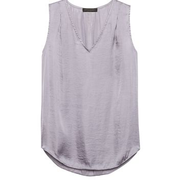 Soft Satin Pleated Drapey Tank | Banana Republic