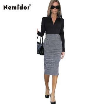 Nemidor 2015 Spring Victoria Beckham Style Women V neck Long Sleeve Plaid Pattern Midi Bodycon Dress