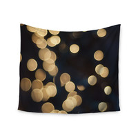 "Cristina Mitchell ""Blurred Lights"" Black Gold Wall Tapestry"