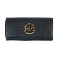 NWT Michael Kors Women's Fulton Carryall Leather Wallet Golden Hardware in Black