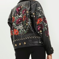 Embellished Biker Jacket - Jackets & Coats - Clothing