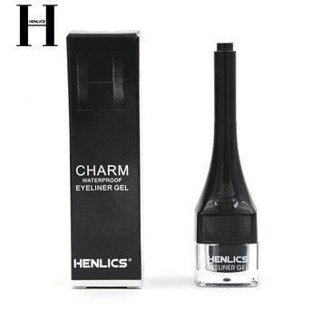 FRANCE HENLICS New Brand Black Waterproof Eyeliner Gel Makeup Cosmetic Eye Liner With Brush 24 Hours Long-lasting