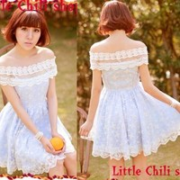 Kawaii Princess Cute Sweet Dolly Lolita Lace Cape Sleeve off-shoulder Dress Blue