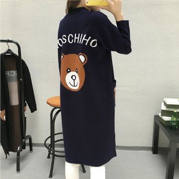 Spring Autumn New Women Lovely Cartoon Little Bear Knit Cardigan Sweater Long Style Loose Casual Pocket Female Fashion Coat