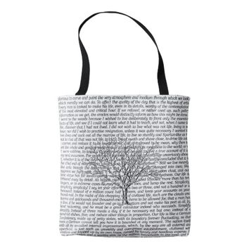 Walden Woods Literary Text Tote Bag