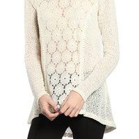 Ressie Flower Crochet Light Sweater Top: Ivory