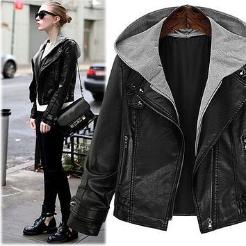 2016 Autumn Women Leather Jackets Hooded Leather Suede Jacket Coats Maxi 5XL Coat Zipper Haulage Montor Faux PU Leather Jackets