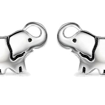YFN Ladies Lovely Cute Jewelry Gift Silver Good Lucky Elephant Stud Earrings Charms