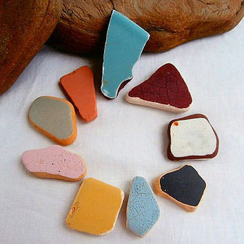 Pottery Shards-Vintage- Craft Supplies Funky Jewelry DIY Projects-Lake Erie Surf Tumbled