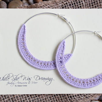 75mm Natural Bamboo Crocheted Silver Plated Hoop Earrings -Lilac