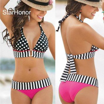VONETDQ StarHonor  Woman Brazilian Retro Polka Dot Halter Two-piece Suits Bra Bikinis Set  Stripe Bathing Suit Swimwear Plus Size S-4XL