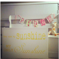 You are my Sunshine, Lullaby, lyrics on canvas, Canvas word art 24x36, Girls room canvas sign,