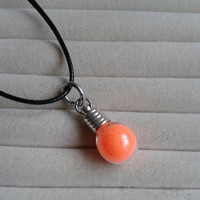 Closing sale - fantasy orange  fairy dust small bottle  charm  pendant necklace