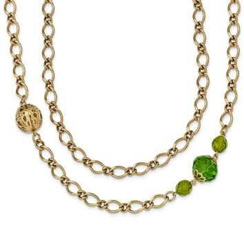 Gold-tone Green Crystal Multi-Chain Necklace