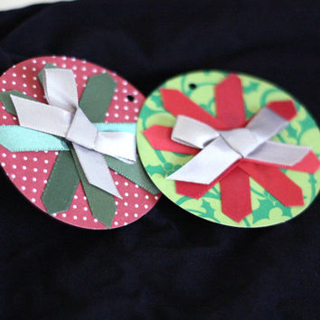 2 Hand Decorated Gift Tags: Large Round Christmas Gift tags with Red, Green, and Silver Ribbon - Handmade by me with Ribbon Accents