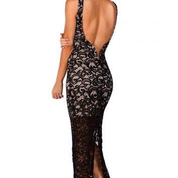 Charlene Black Sleeveless Backless Long Lace Maxi Gown