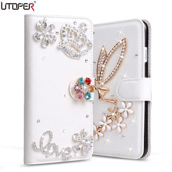 Case For iPhone4 Luxury Rhinestone Diamond PU Leather Cover For Apple iPhone 4 4s 4G Phone Cases Stand Flip Wallet Bag+Card Slot