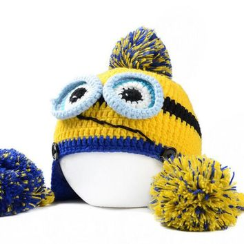 Winter Novel Style Despicable Me Minions Bulb Cap Handmade Cap Two Balls Knitted Hat For Women HT51167+25
