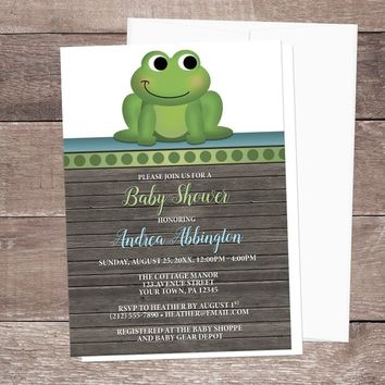 Frog Baby Shower Invitations Boy - Rustic Wood Cute Green Froggy with  Blue and Brown - Printed Frog Invitations