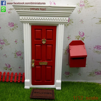 Hot 1 12 Scale Miniature Wooden Tooth Fairy Door and Letter Box Free Shipping