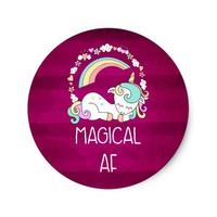 Humorous Unicorn Magical AF on Dark Red Pattern Classic Round Sticker