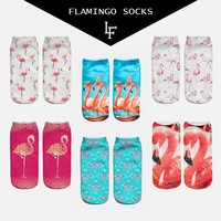 New 3D Print Casual Polyester Socks Flamingo Women Durable Socks Cute Low Cut Ankle Sock Cartoons Casual Type Teenager Socks