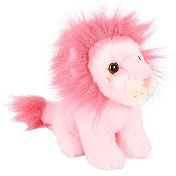 7 Inch Stuffed Pink Lion Plush Sitting Animal Prism Collection
