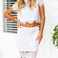 Pretty Flower Print See-through Bodycon Two-piece Lace Dress