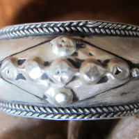 Old Berber Silver Bracelet with knobs, Moroccan Sahara