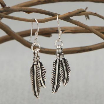 Free As A Bird Sterling Silver Feather Earrings