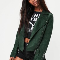 Missguided - Green Raw Edge Biker Jacket